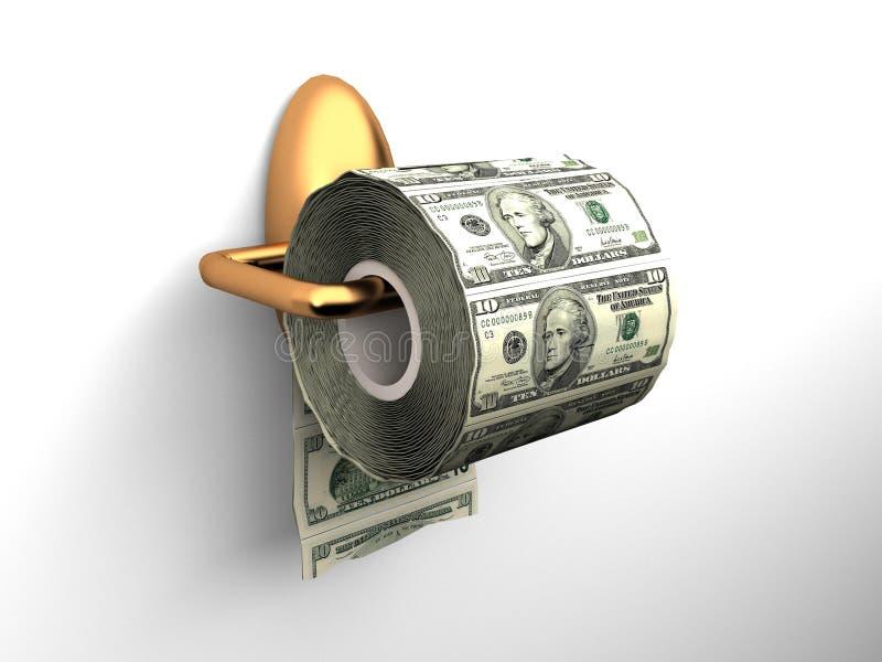 Papel higiénico dos dólares ilustração royalty free