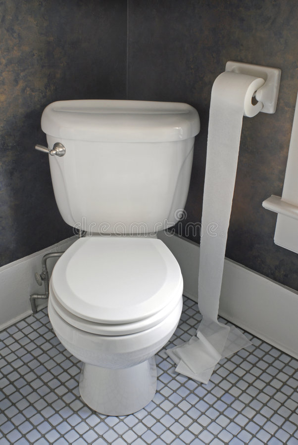 Papel higiénico no assoalho imagens de stock