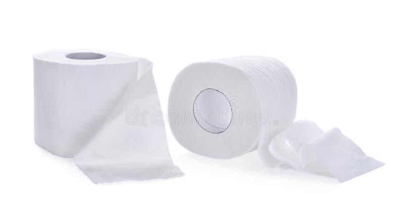 Papel higiénico, rollo del papel seda aislado en blanco foto de archivo