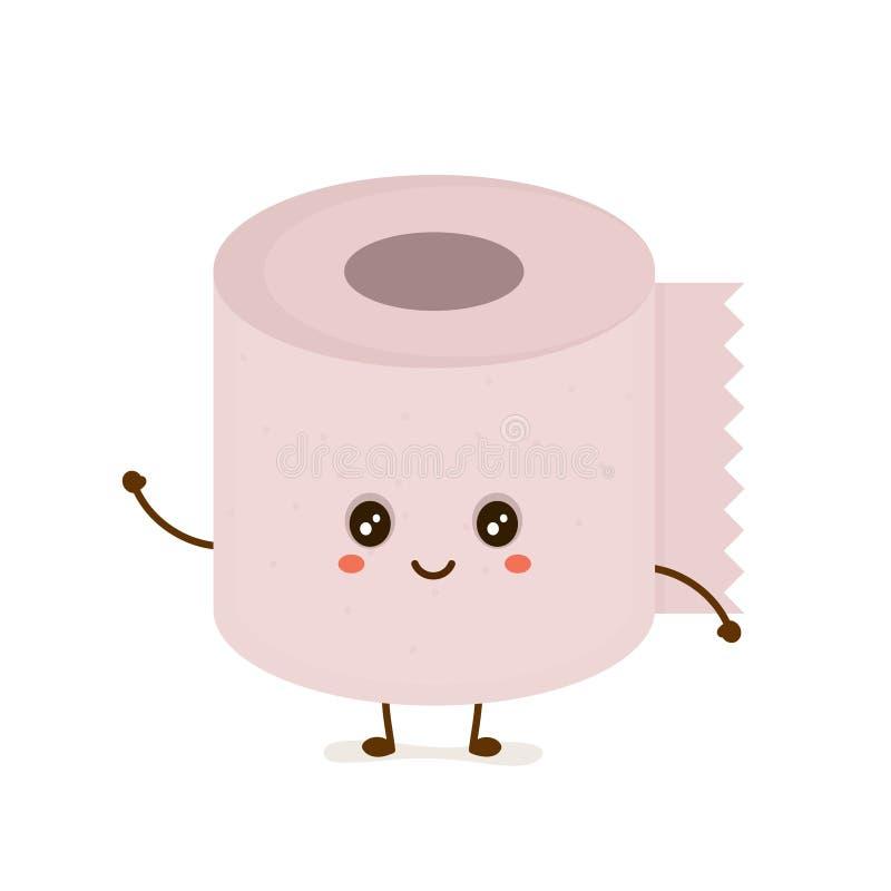 Papel higiénico sonriente lindo feliz divertido stock de ilustración