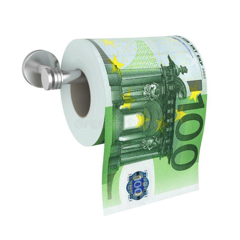 Papel higiênico de 100 cédulas do Euro isolado ilustração do vetor