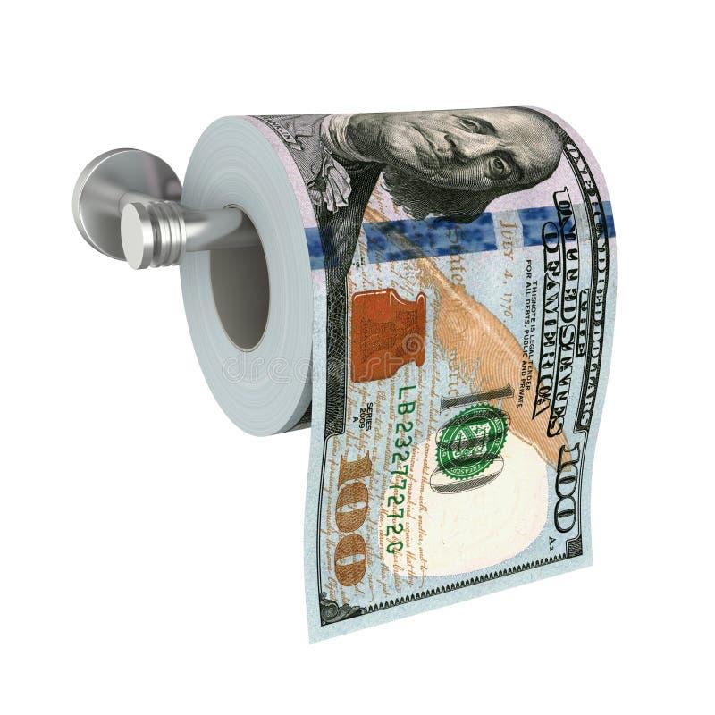Papel higiênico de 100 notas de dólar isolado ilustração royalty free