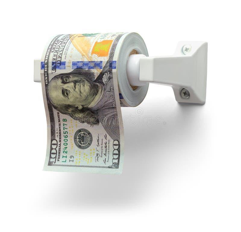 Papel higiênico do dinheiro imagem de stock