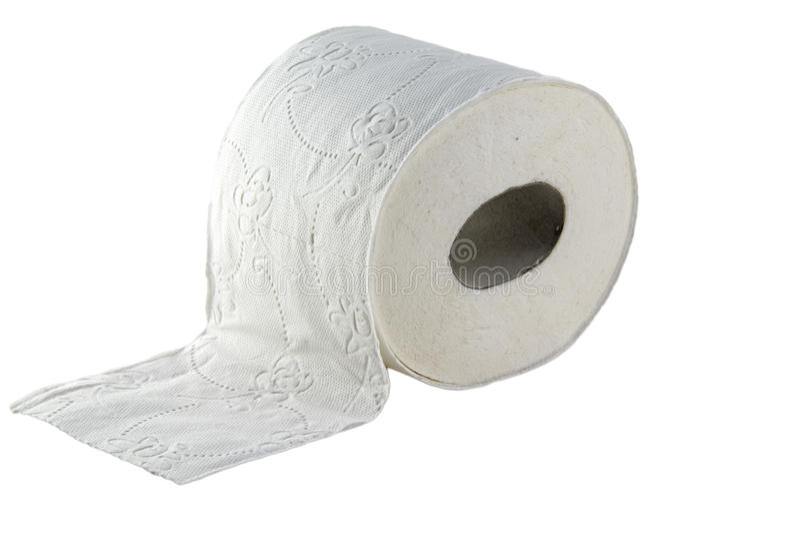 Papel higiênico na foto branca do fundo Pictu bonito imagens de stock royalty free