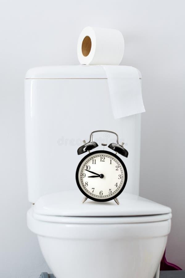 Papel higiênico no tanque branco do toalete imagens de stock