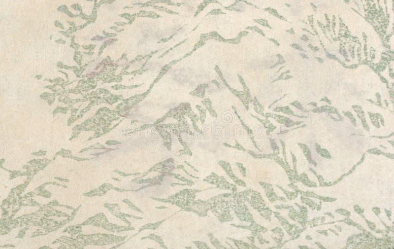 Papel japonês envelhecido com uma cópia floral imagens de stock