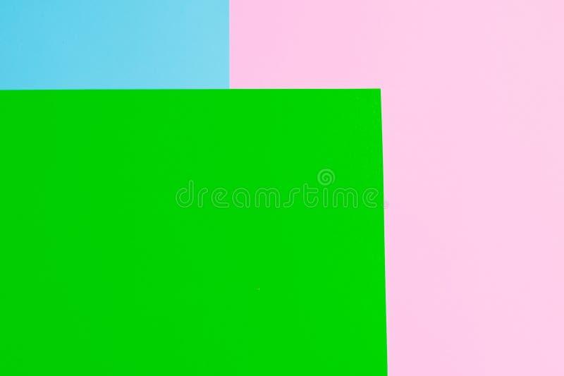 Papel macio do rosa, o verde e o azul como o fundo da textura Configuração lisa Conceito mínimo Conceito creativo Pop art imagens de stock