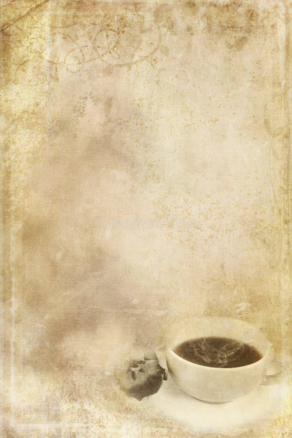 Papel manchado com chávena de café ilustração stock