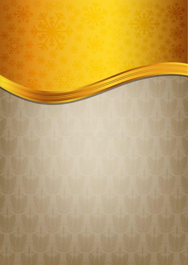 Papel marrón abstracto de la celebración con ribbo de oro libre illustration
