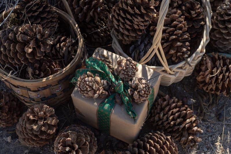 Papel marrom que envolve, fita verde do presente rústico do Natal do vintage, cones do pinho imagem de stock royalty free