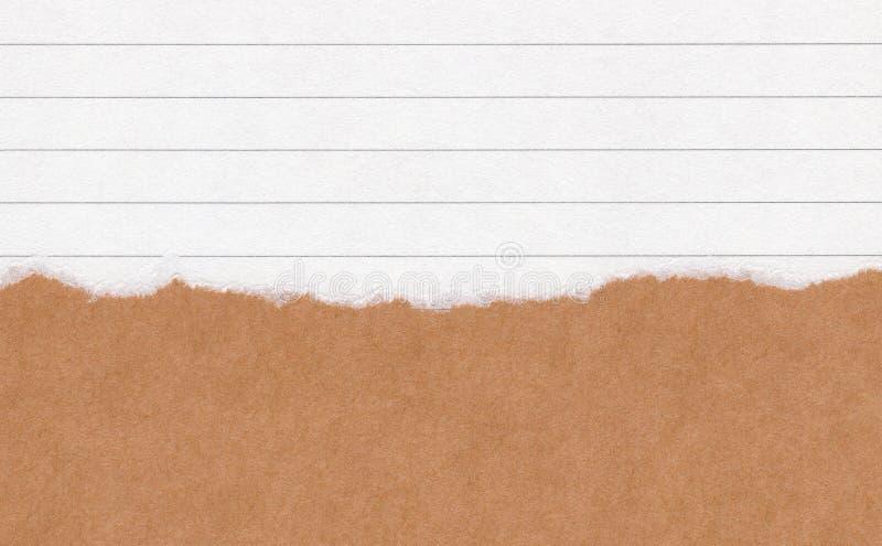 Papel marrom rasgado close up do grunge no fundo de papel alinhado branco da textura Nota de papel do rasgo, folha de papel marro fotos de stock