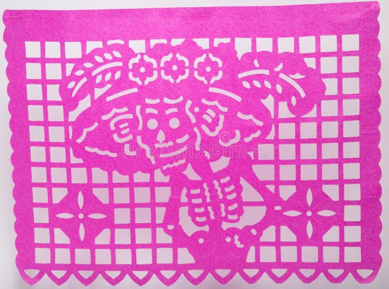 Papel Mexikanerdia de Muertos picado schnitt die Papierschädelkunst, die Catrina kennzeichnet lizenzfreies stockbild