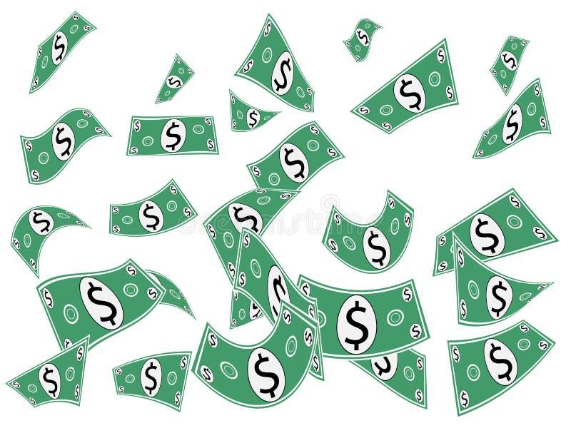 Papel moeda de queda do dinheiro ilustração stock