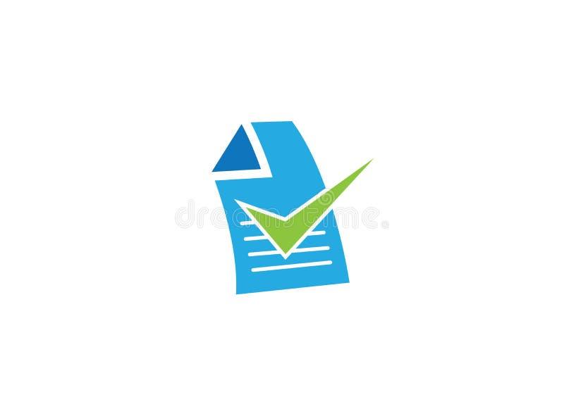 Papel o lista de Writed con una marca de verificación para el diseño del logotipo stock de ilustración