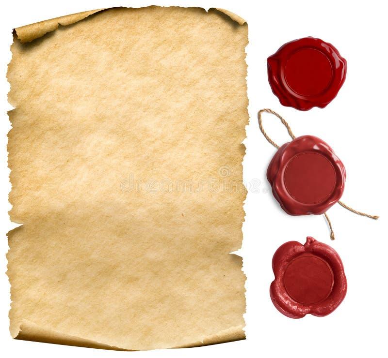 Papel ou folha de letra antigos, com selos de cera, isolados imagem de stock royalty free
