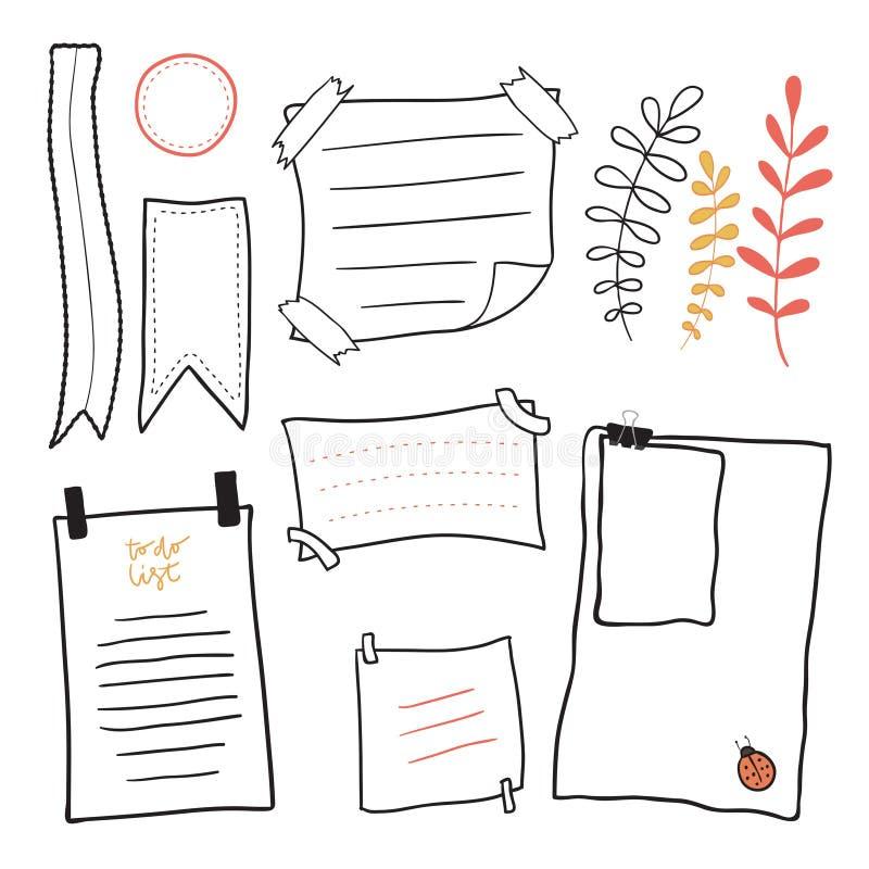 Papel para cartas da garatuja Grupo pegajoso tirado mão do vetor das notas das mensagens ilustração do vetor