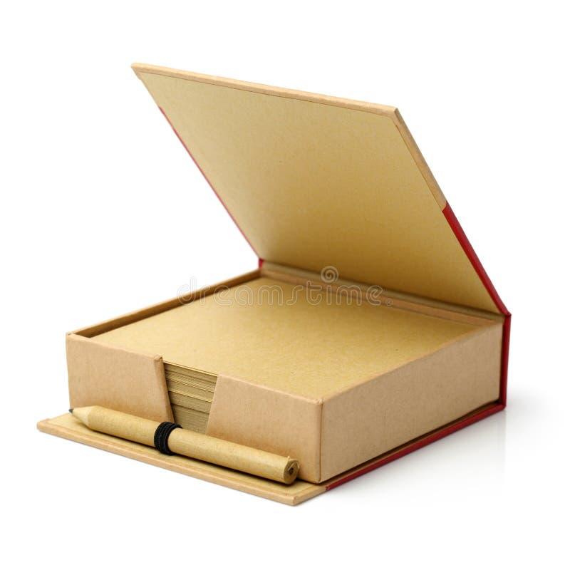 Papel para cartas, lápis, caixas fotografia de stock
