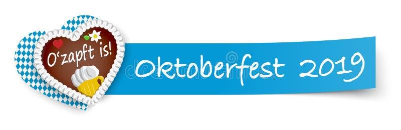 papel pegajoso azul con el corazón Oktoberfest 2019 del pan de jengibre ilustración del vector