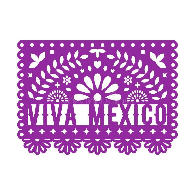 Papel Picado, decorações de papel mexicanas para o partido Festão de papel ilustração stock