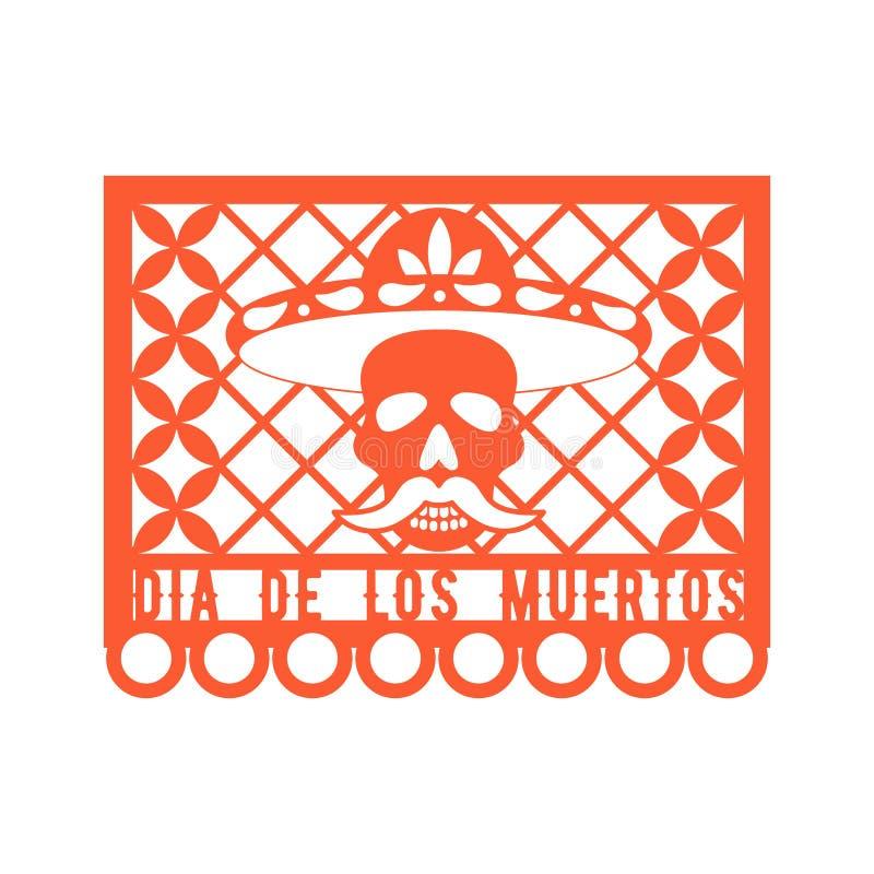 Papel Picado, meksykanin papierowe dekoracje dla przyjęcia Papierowa girlanda ilustracja wektor