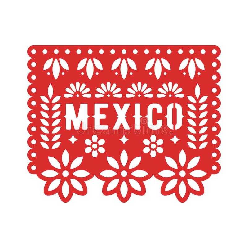 Papel Picado, Mexican paper decorations for party. Cut out compositions for paper garland. Vector template design stock illustration
