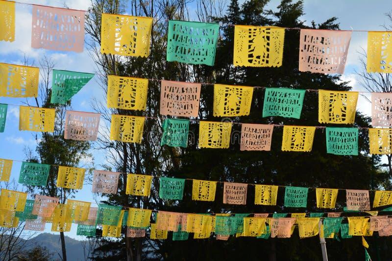 Papel Picado in San Cristobal de Las Casas il Chiapas Messico fotografie stock libere da diritti