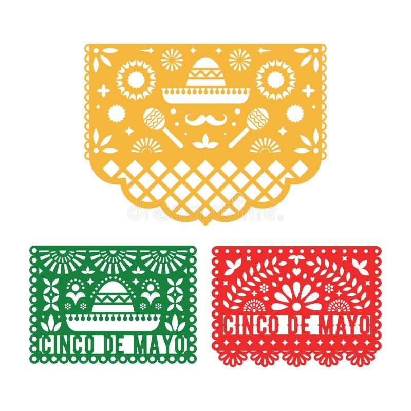 Papel Picado set, Mexican paper decorations for Cinco De Mayo. vector illustration