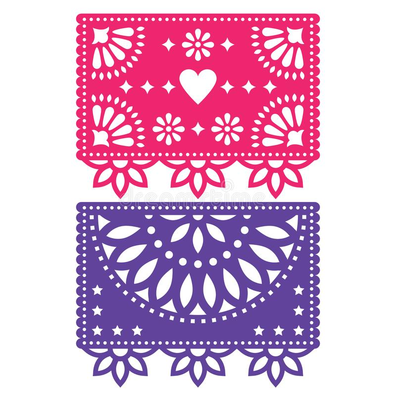 Papel Picado template design set, Mexican paper decorations flowers and geometric shapes, two party banners vector illustration