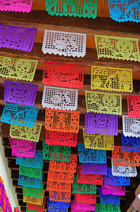 Papel picado. Traditional Mexican cut paper decoration of day of the dead royalty free stock photos