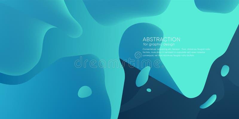 Papel pintado abstracto con forma dinámica Fondo con las formas líquidas Contexto de moda del hielo futurista Disposición moderna ilustración del vector