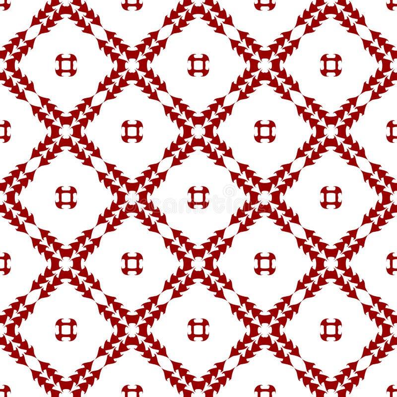 Papel pintado abstracto inconsútil floral chino árabe de la textura del modelo del vintage real rojo oriental ornamental stock de ilustración