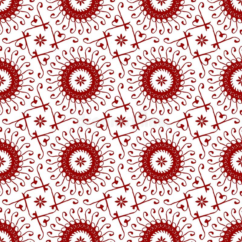Papel pintado abstracto inconsútil floral rojo chino árabe de la textura del modelo del vintage real oriental ornamental ilustración del vector
