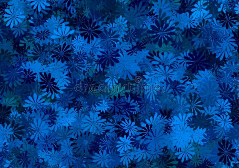 Papel pintado acodado estampado de flores azul de las sombras ilustración del vector