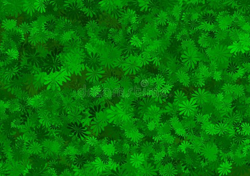 Papel pintado acodado estampado de flores verde de la sombra ilustración del vector