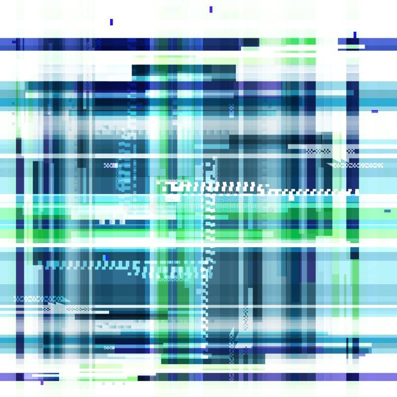Papel pintado azul abstracto en el estilo de un pixel de la interferencia Ruido geométrico púrpura del modelo Grunge, fondo moder ilustración del vector