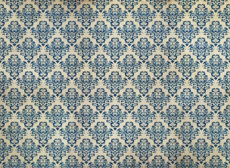 Papel pintado azul apenado viejo del damasco imagen de archivo