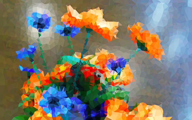 Papel pintado bajo abstracto del color del polígono ilustración del vector