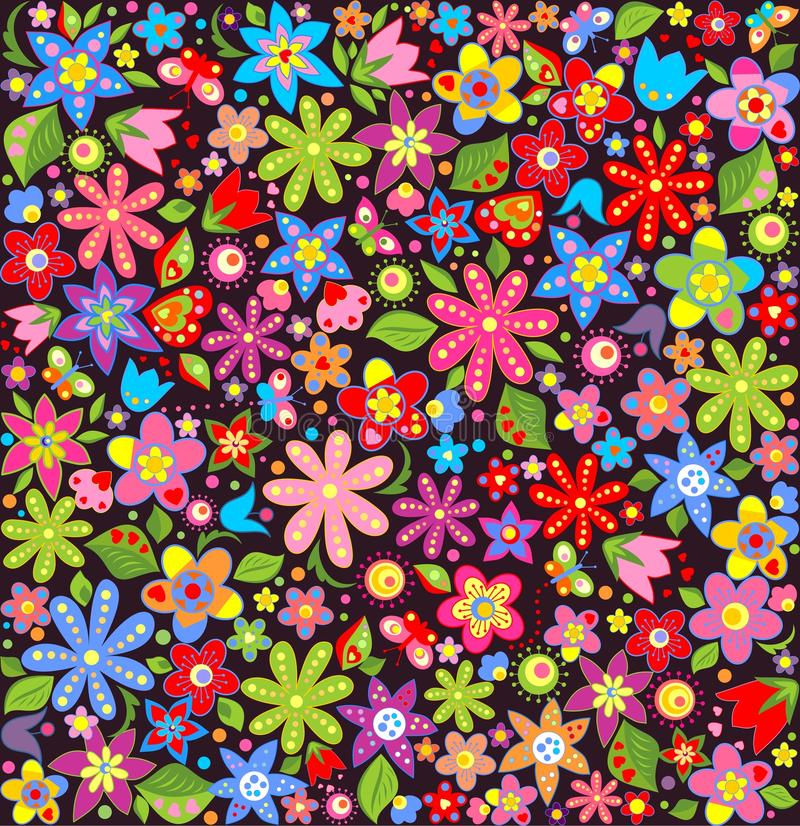 Papel pintado brillante con las flores del verano ilustración del vector