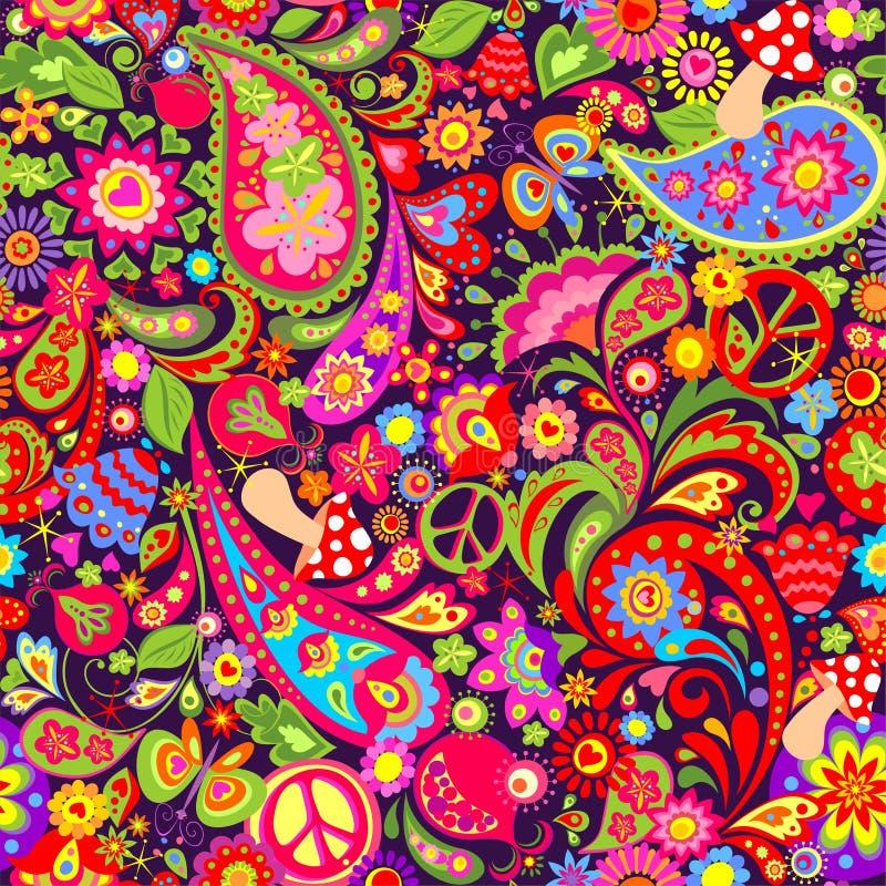 Papel pintado colorido vivo del hippie con las flores abstractas, símbolo de paz del hippie, las setas, la granada y Paisley stock de ilustración