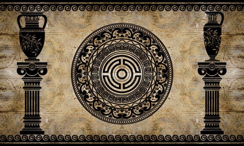 papel pintado 3d, columnas arquitectónicas y arte del griego clásico El efecto del fresco ilustración del vector