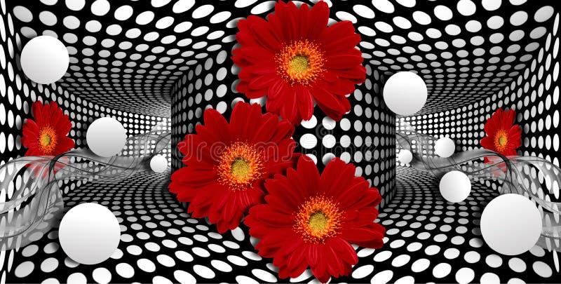 papel pintado 3d, gerberas rojos y esfera en fondo de las ilusiones ópticas ilustración del vector