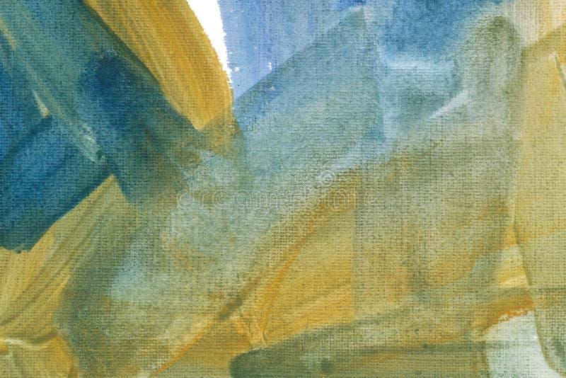 Papel pintado de color amarillo pálido con pincel azul Dibujo rastrero de pincel dibujado a mano imagen de archivo