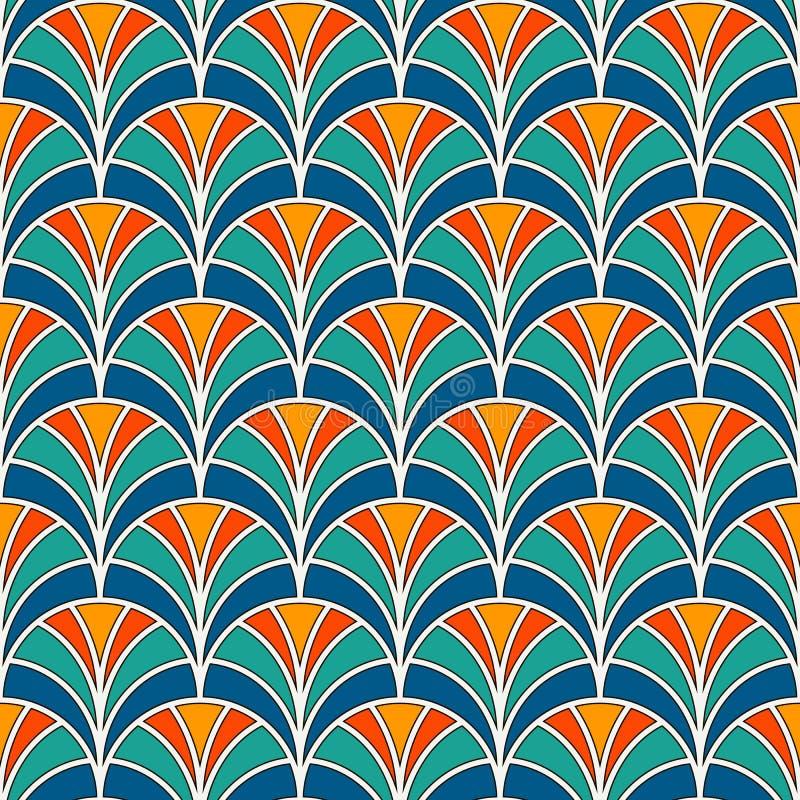 Papel pintado de la escala de pescados Ornamento tradicional asiático con las conchas de peregrino repetidas Adorno de la fan de  ilustración del vector