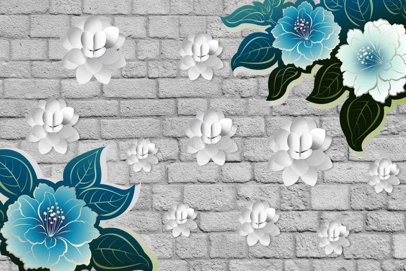 papel pintado de la flor 3d con la pared de ladrillos, de la madera, de la piedra y de la hoja ilustración del vector