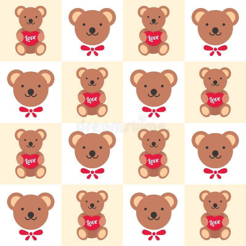 Papel pintado de la muñeca del oso stock de ilustración