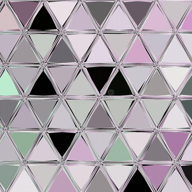 Papel pintado de los tri?ngulos de la decoraci?n de la teja Textura moderna en color plata ilustración del vector