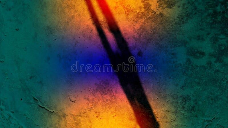 Papel pintado de madera del fondo de la textura del camino de la sombra del color del árbol azul anaranjado de los efectos Ejempl stock de ilustración