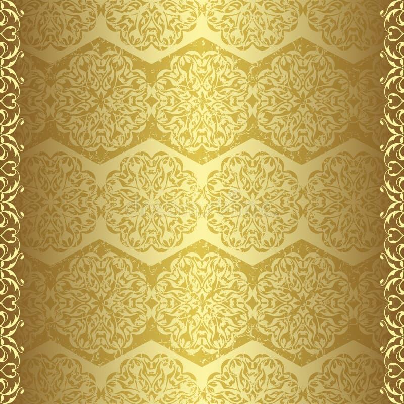 Papel pintado de oro de la vendimia ilustración del vector