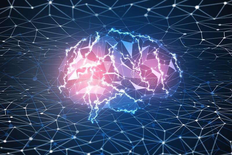 Papel pintado del cerebro de Digitaces stock de ilustración
