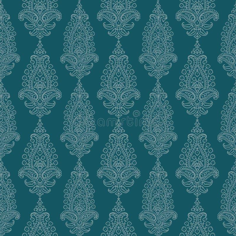 Papel pintado del damasco de Paisley de la vendimia del verde azul ilustración del vector